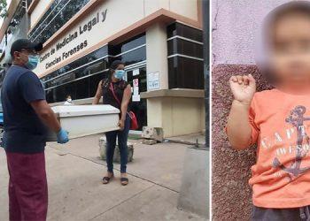 El cuerpo del niño Rusbell Antonio Rodríguez Zúniga (foto inserta) fue retirado de la morgue capitalina por sus familiares para irlo a enterrar a Danlí.