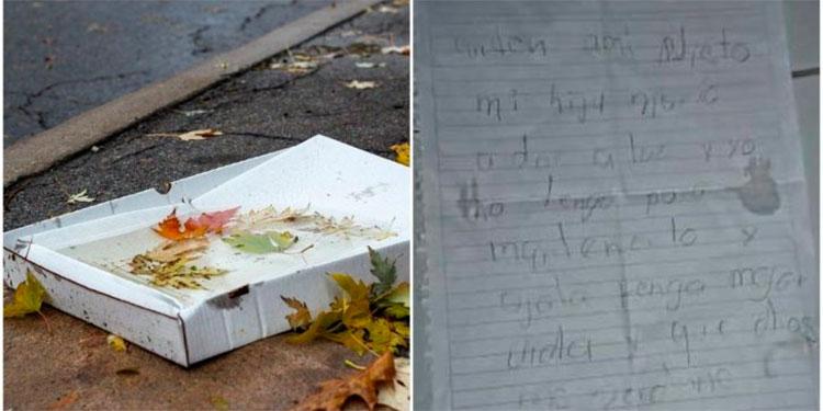 Abuelito abandona a su nieto en caja por no poder mantenerlo y le deja una nota