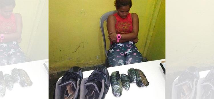 Detienen a mujer que intentó ingresar droga oculta en zapatos a penal de Yoro