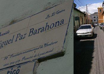 Placa de la vía bautizada con el nombre del expresidente Miguel Paz Barahona. Pocos la dan como referencia.