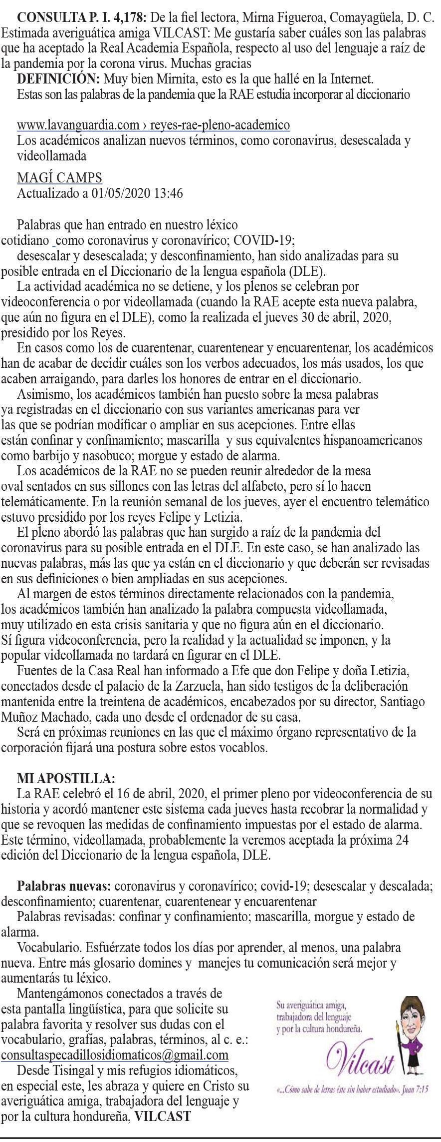 NUEVAS PALABRAS: CORONAVIRUS Y CORONAVÍRICO; COVID-19; DESESCALAR Y DESCALADA; DESCONFINAMIENTO; CUARENTENAR, CUARENTENEAR Y ENCUARENTENAR