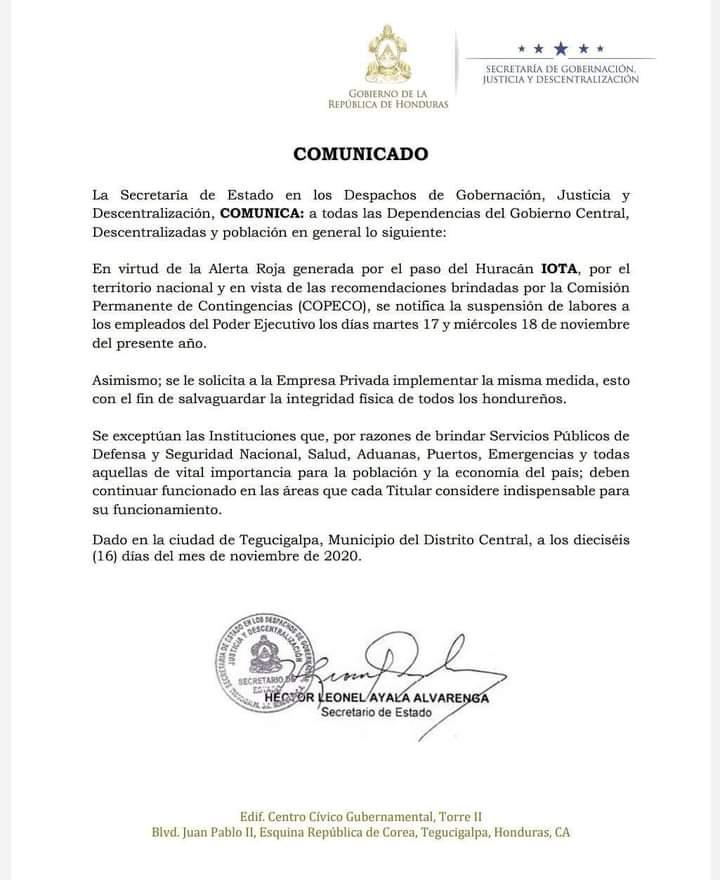 """Gobierno suspende labores en sector público y privado ante amenaza de huracán """"Iota"""""""