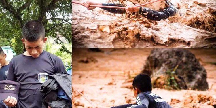 Al aspirante a policía, Ernahí Pineda, no le importó el riesgo que corría, y se lanzó al rescate de personas que pedían auxilio.