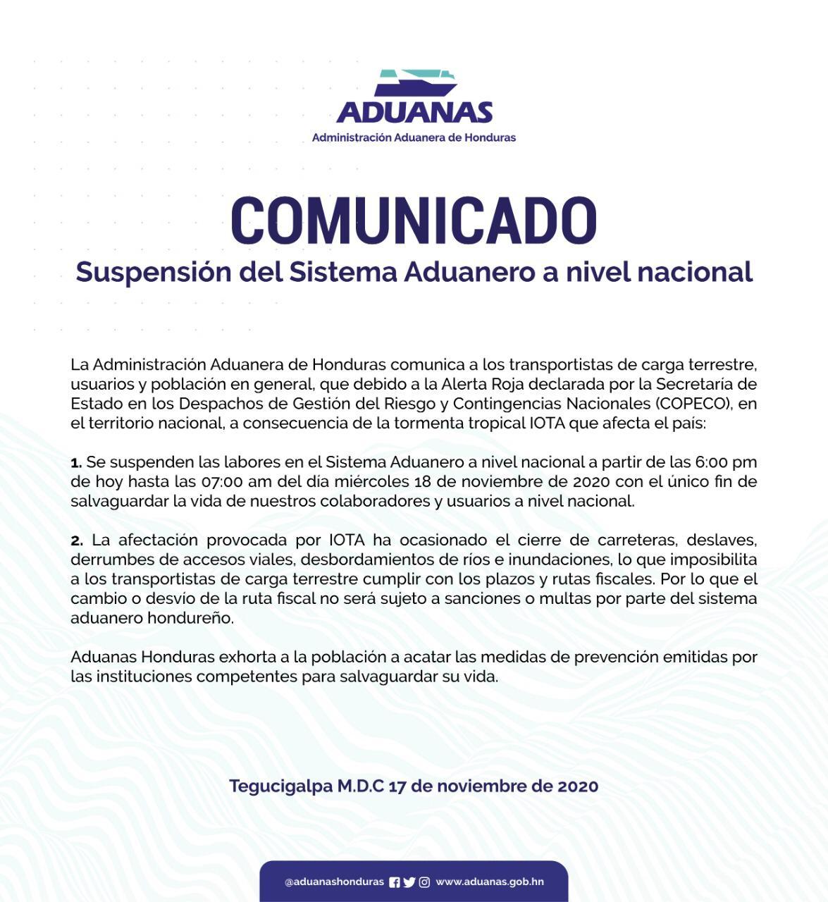 Suspenden el servicio aduanero a nivel nacional