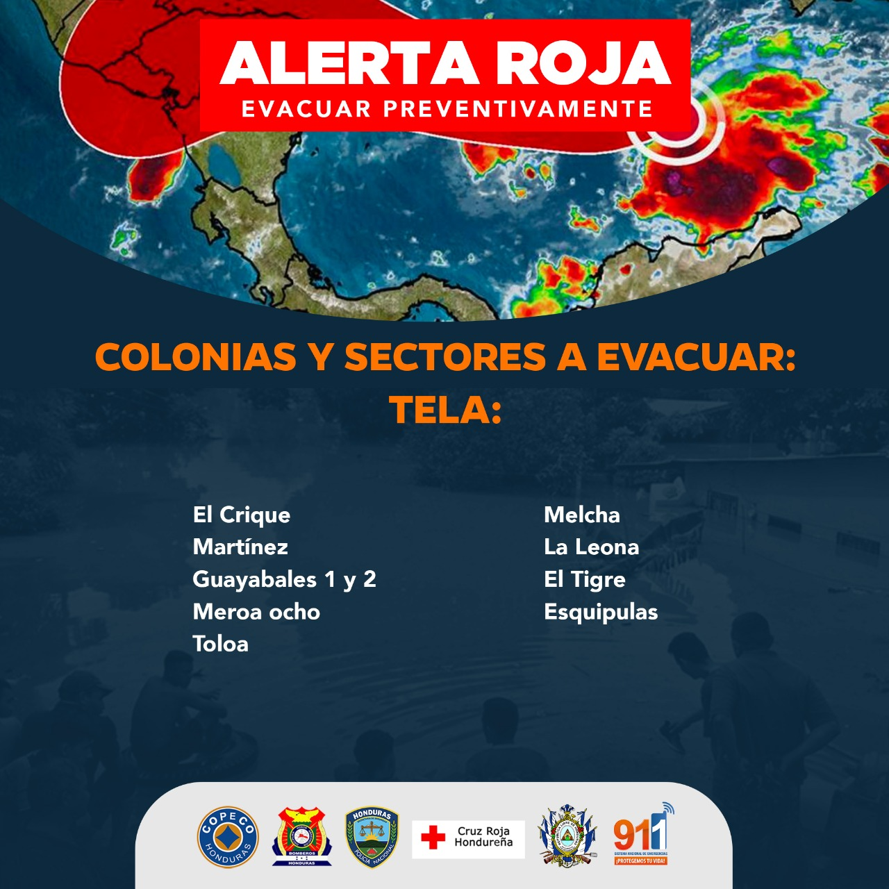 Estas son las colonias y sectores a evacuar de inmediato por