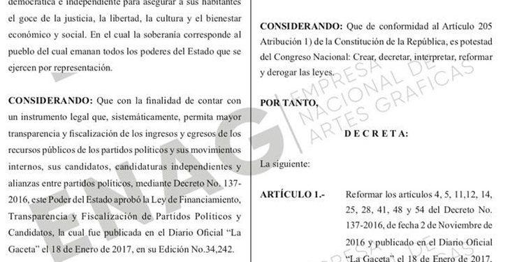 Publicadas en La Gaceta reformas a Ley de Financiamiento