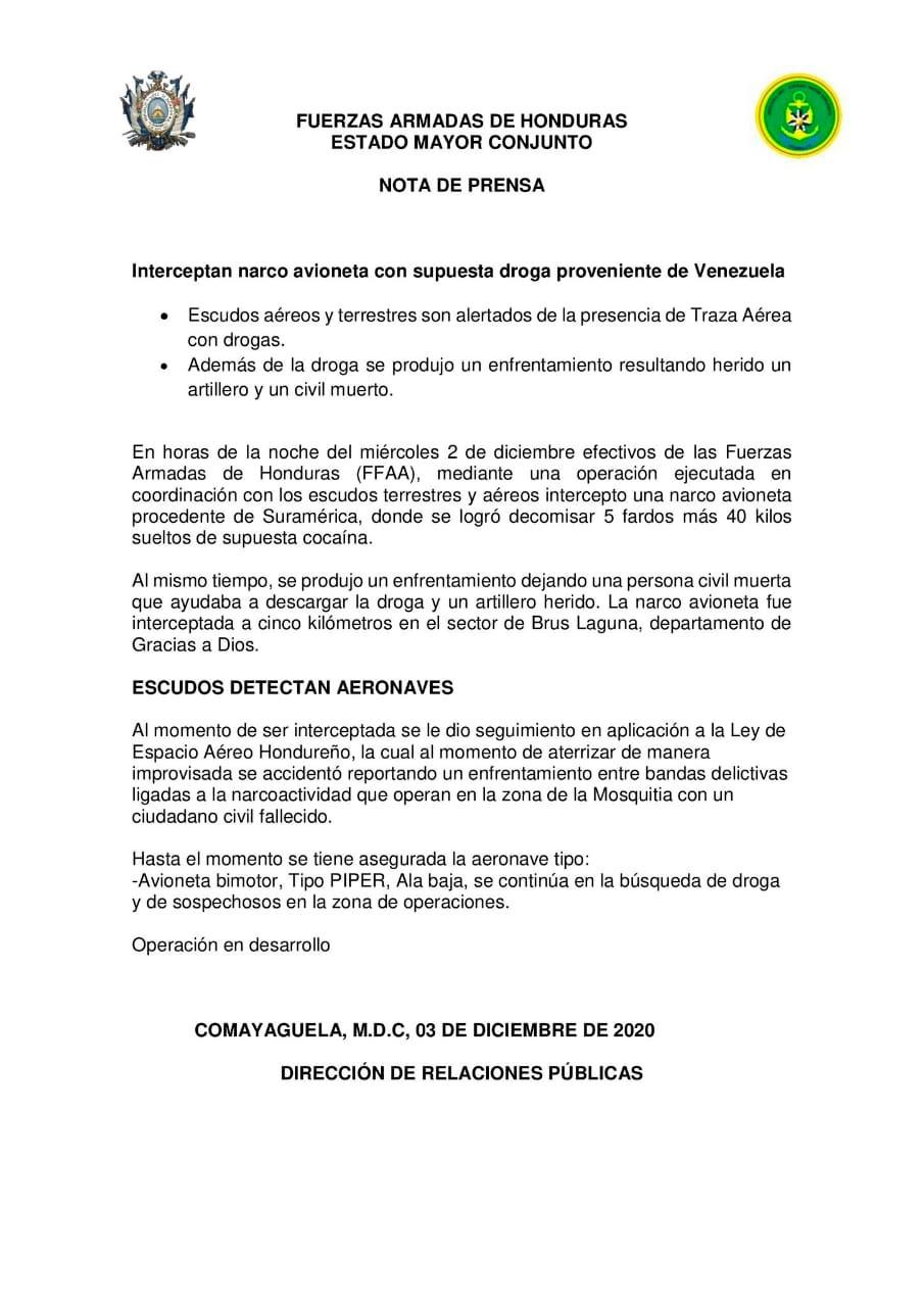José Coello: Aeronave incautada en La Mosquitia se hizo pasar por ayuda humanitaria