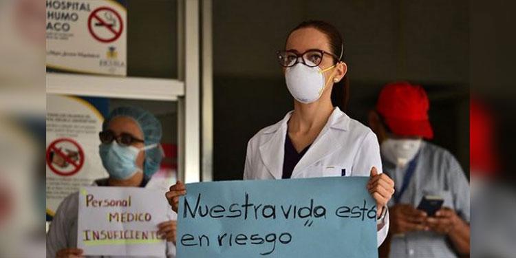 Según el sindicato, parte del personal del Hospital Escuela lo han trasladado al hospital móvil de Tegucigalpa.