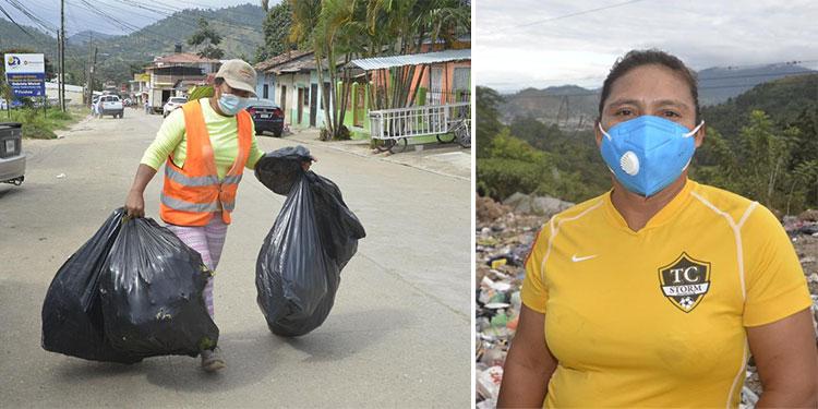 La faena es cansada, pero no le impide hacer su jornada laboral a Sebastiana Ávila (foto inserta), quien pide un empleo formal dentro del área de recolección de desechos de la alcaldía danlidense.