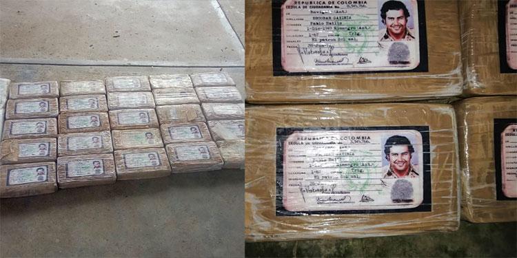 La droga estaba clasificada en kilos e identificada con una identidad del extinto capo colombiano Pablo Escobar