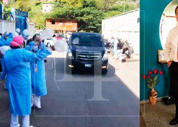 Entre globos y aplausos empleados del IHSS despiden a médico muerto por COVID-19