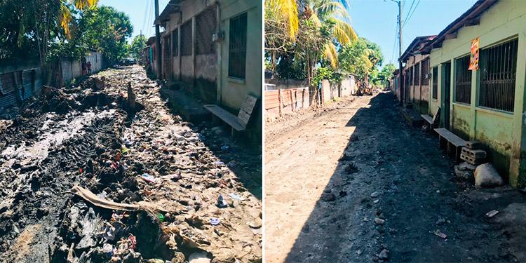 ANTES. El paso de las tormentas tropicales dejó repletas de lodo las calles de la aldea Copeco Bid. DESPUÉS. El trabajo de limpieza que se hizo fue arduo, logrando dejar despejadas las vías públicas.