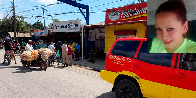 Cuerpos de socorro llegaron al negocio donde fueron atacadas a tiros las tres personas, pero ya había muerto la jovencita Nely Patricia Chirinos (foto inserta).