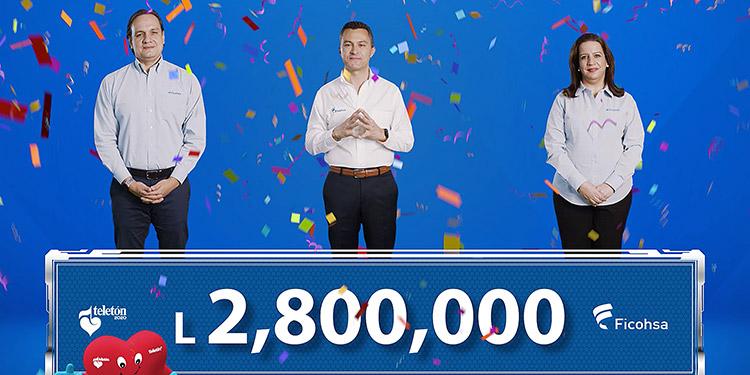El importante donativo del Grupo Financiero Ficohsa y sus clientes a la Teletón fue por dos millones ochocientos mil lempiras.