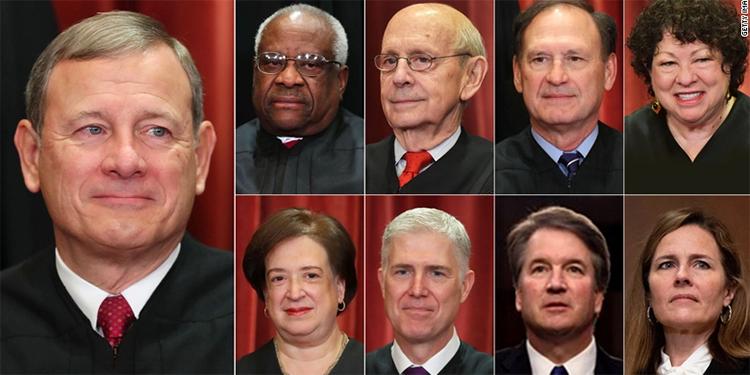 Magistrados de la Corte Suprema de Justicia de EEUU.