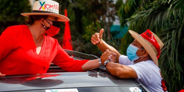 Xiomara Castro recorrió en caravana distintas comunidades de la zona sur.