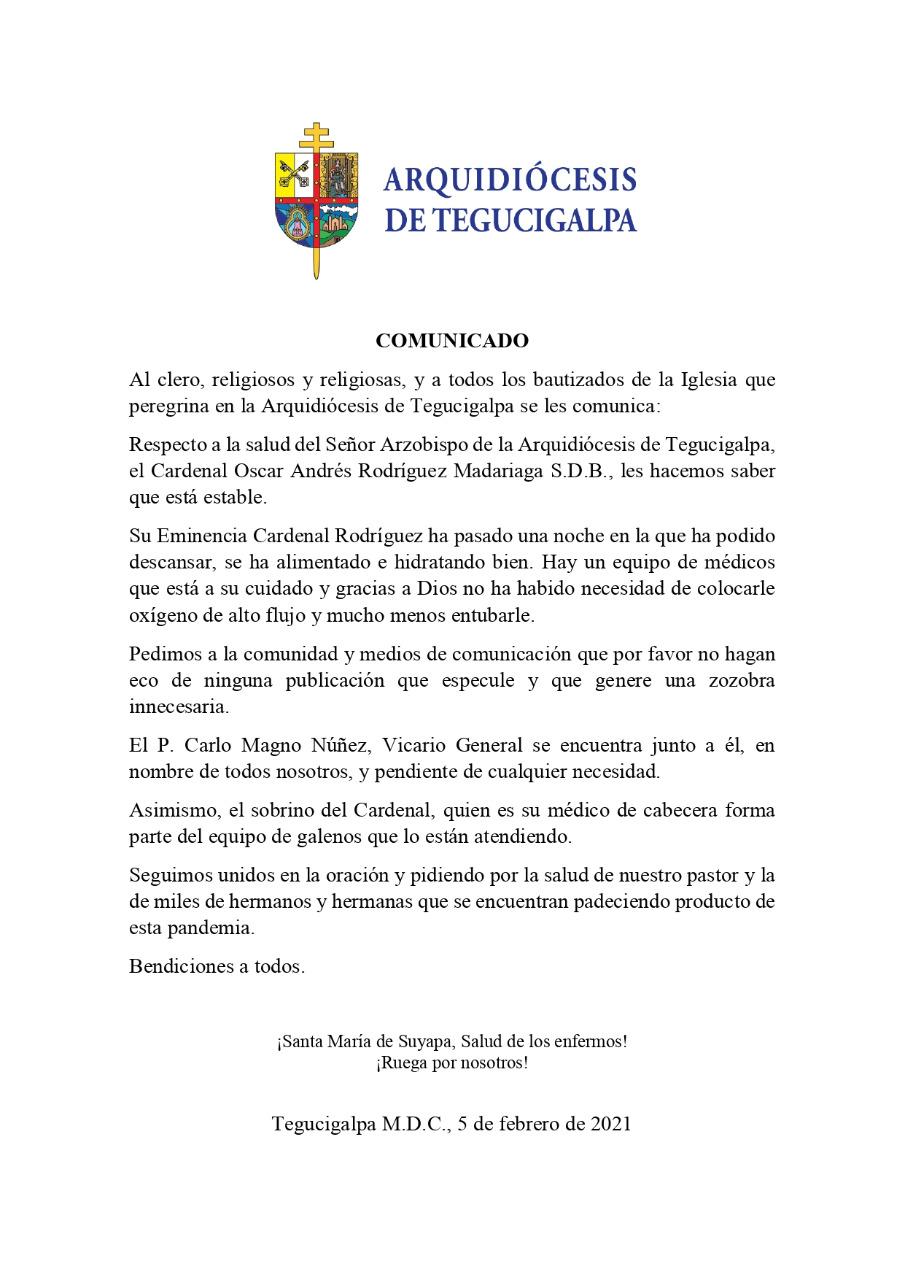 Comunicado del Arzobispado de Tegucigalpa
