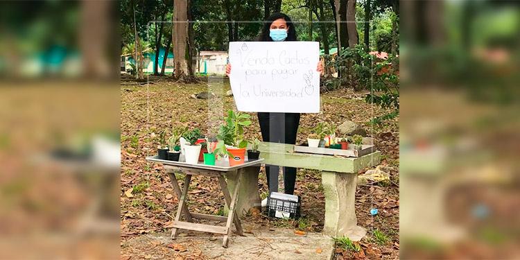 Joven vende plantas para pagar sus estudios en SPS
