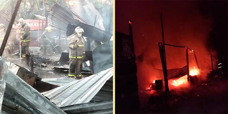 Un total de dos viviendas arrasadas dejó el gigantesco incendio en la colonia San Jose V, de la ciudad de San Pedro Sula, Cortés.