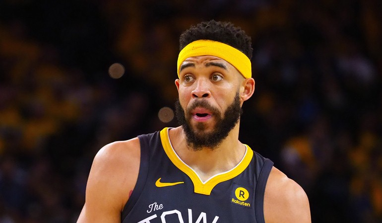 Apr 16, 2018; Oakland, CA, USA; Golden State Warriors center JaVale McGee (1) reacts between plays against the San Antonio Spurs during the second quarter in game two of the first round of the 2018 NBA Playoffs at Oracle Arena. Mandatory Credit: Kelley L Cox-USA TODAY Sports