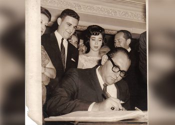 Marcos Fiszman firma como padrino de boda, en el enlace entre Jacobo y Frances Goldstein
