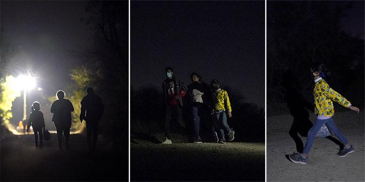 Una niña hondureña de siete años (izq) camina junto a su compatriota Fernanda Solís, de 25, y a un hombre no identificado hacia un centro de procesamiento de migrantes que cruzaron la frontera ilegalmente en Mission, Texas, el 21 de marzo del 2021. La niña viajaba sola y se unió a Solís en pleno trayecto. (AP Photo/Julio Cortez)