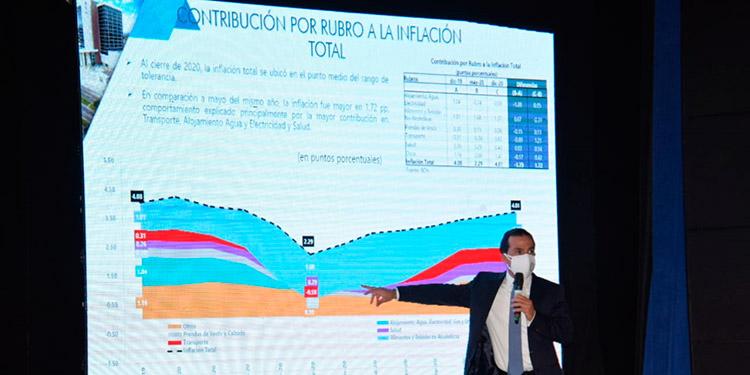 El presidente del BCH, Wilfredo Cerrato y las autoridades del organismo prometen revisar cada tres meses estas proyecciones macroeconómicas.