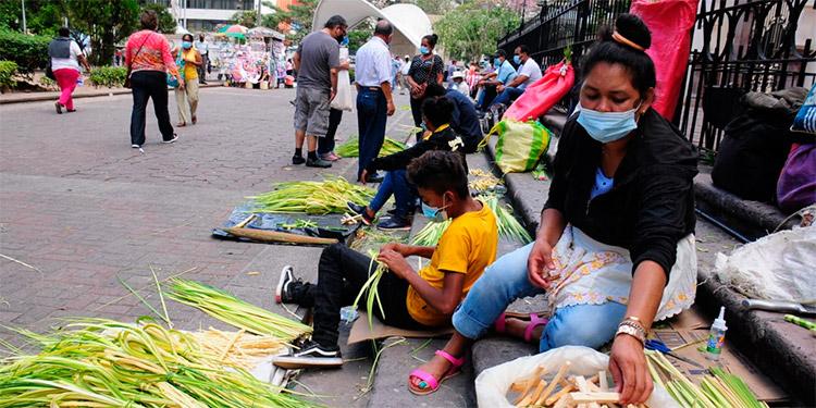 Familias campesinas llegaron hasta la capital con las tradicionales palmas para celebrar el Domingo de Ramos.