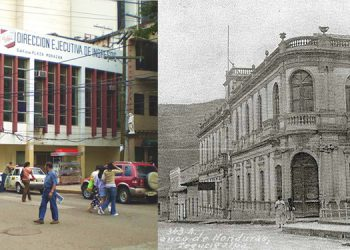 Junto al parque Central de la capital. Ayer, antiguo edificio de Banco de Honduras en 1918. Con el correr del tiempo, el histórico inmueble prestando otros servicios.