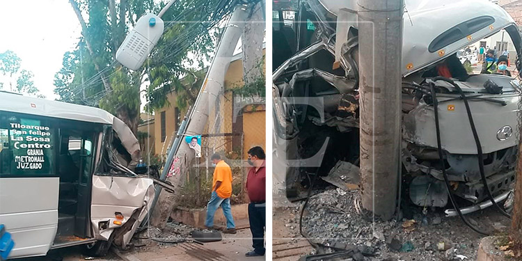 Varios heridos deja choque de bus 'rapidito' en Tegucigalpa