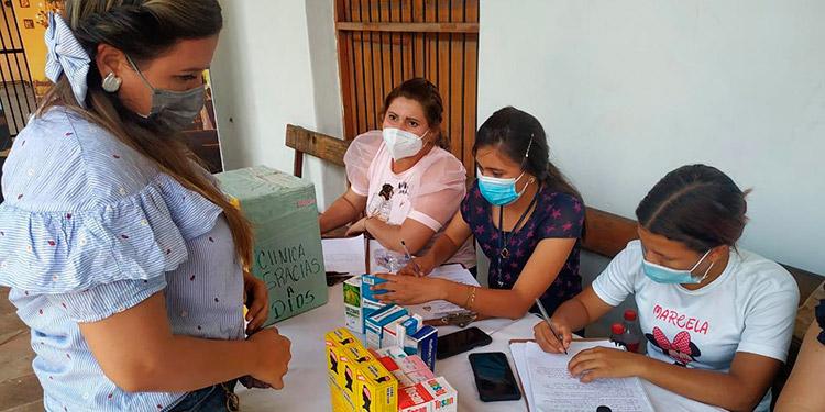 Una buena cantidad de medicamentos se recibieron durante la actividad de hoy en la clínica municipal de Choluteca.