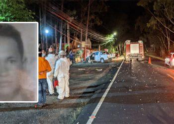 En el kilómetro 19 de la carretera entre Valle de Ángeles y la capital se produjo un choque y falleció el motociclista, Pedro Gerardo Rosales Salgado (foto inserta).