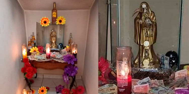 """El altar de la """"Santa Muerte"""" lo encontraron en una bodeguita adentro de la casa allanada, rodeado de dinero, cervezas y ron."""