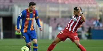 Pese a que lo intentó, Messi no pudo anotarle al Atlético de Madrid.