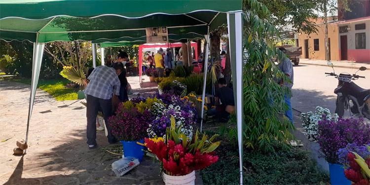 Comerciantes que vienen año con año desde Tegucigalpa para vender flores, se instalan en el parque Félix M. Reyes.