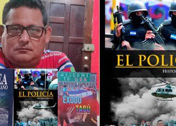 """El ingeniero y escritor Lenín Adalberto Mejía Núñez muestra sus tres obras literarias, incluyendo la más reciente: """"El Policía-Historias ocultas""""."""