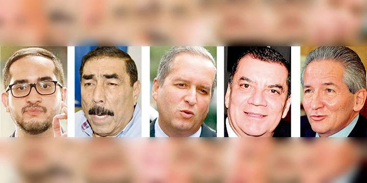 Marco Midence, Ramón Leva Bulnes, Ricardo Álvarez, Elvin Santos y Ricardo Maduro.