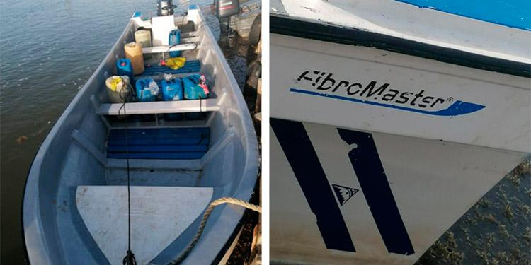 En la lancha tipo tiburonera se encontraron 118 galones de combustible y es periciada para determinar si transportaba drogas.