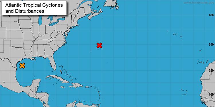 Según el Centro Nacional de Huracanes, imágenes recientes de satélite muestran un sistema bien definido de baja presión sobre el oeste del Golfo de México, que presenta vientos de entre 30 y 35 millas por hora cerca y al este de su centro.