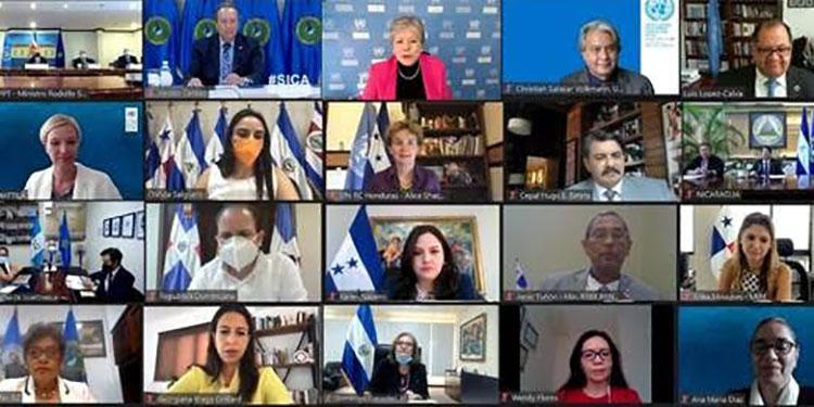 En el encuentro virtual participaron delegados del SICA, funcionarios de los países de Centroamérica y representantes del PNUD.