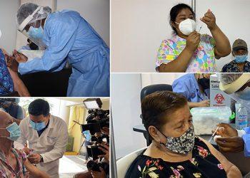 Los adultos mayores fueron vacunados en los megacentros asignados así como en el autoservicio de la UTH.