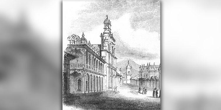 1 Dibujo de la época como era la Parroquia de la Limpia de La Inmaculada Concepción en 1746