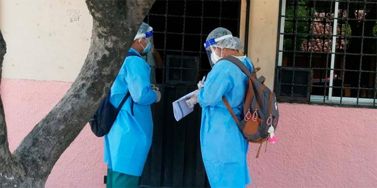 Brigadas de Salud realizan jornada de monitoreo de posibles casos de COVID-19.