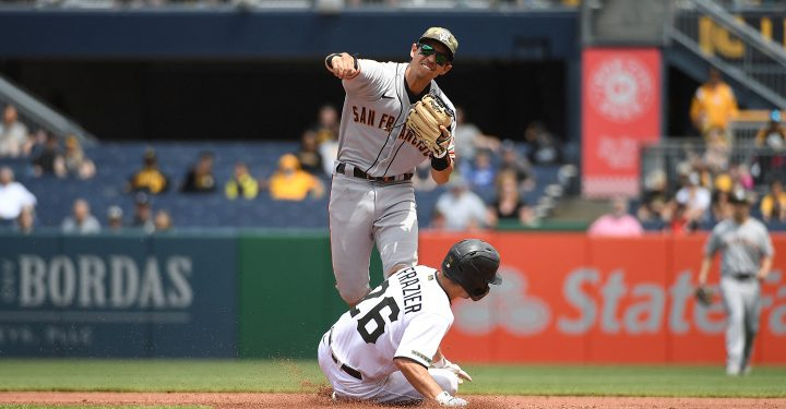 PITTSBURGH, PA - MAY 16: Mauricio Dubon #1 of the San Francisco Giants attempts to turn a double play against Adam Frazier #26 of the Pittsburgh Pirates in the third inning during the game at PNC Park on May 16, 2021 in Pittsburgh, Pennsylvania.   Justin Berl/Getty Images/AFP (Photo by Justin Berl / GETTY IMAGES NORTH AMERICA / Getty Images via AFP)