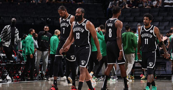 BROOKLYN, NY - MAY 22: Kevin Durant #7, James Harden #13, Jeff Green #8, Kyrie Irving #11 of the Brooklyn Nets look on during Round 1, Game 1 of the 2021 NBA Playoffs on May 22, 2021 at Barclays Center in Brooklyn, New York. NOTE TO USER: User expressly acknowledges and agrees that, by downloading and or using this Photograph, user is consenting to the terms and conditions of the Getty Images License Agreement. Mandatory Copyright Notice: Copyright 2021 NBAE   Nathaniel S. Butler/NBAE via Getty Images/AFP (Photo by Nathaniel S. Butler / NBAE / Getty Images / Getty Images via AFP)