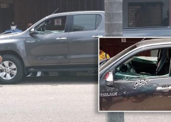 Más de 20 impactos de bala recibió el vehículo (foto inserta) de Gustavo Soriano, quien resultó herido de bala.