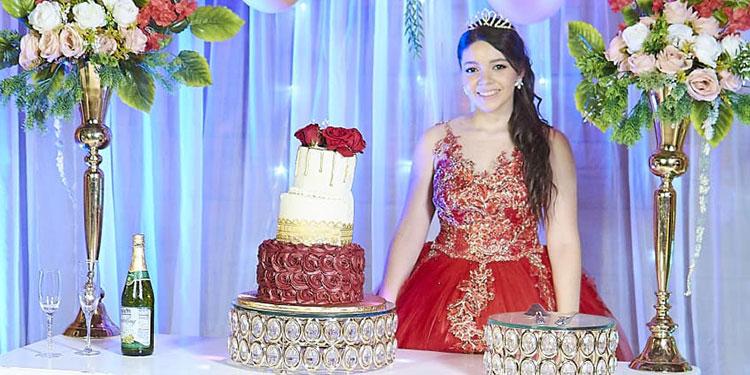 Para el gran acontecimiento Emilia lució un elegante vestido rojo,  estilo princesa.