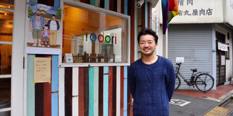Fumino Sugiyama, 36, outside his restaurant, Irodori, in Tokyo's Shibuya ward.