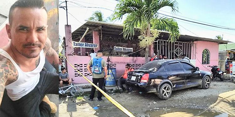 En la sala de la casa, dentro del taller, quedó el cuerpo del mecánico Iván Álvarez (foto inserta).