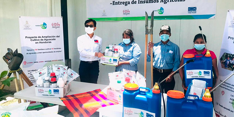 El embajador de la República de China Taiwán, Diego Weng, entregó los insumos, equipo y herramientas a cada familia productora de aguacate.